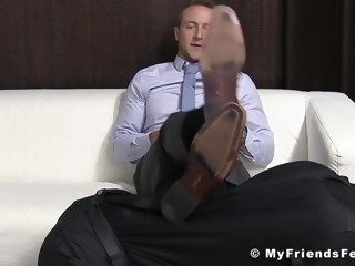 business Business stud Kenny has feet worshiped by foot fetishist stud