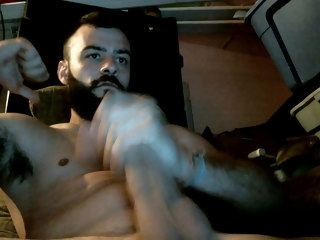 sexy Sexy Bearded Stud Stroking His Juicy Meat bearded