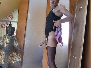dirty sissy in pantyhose cums on girls swimsuits
