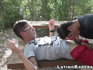 Hung Latino impales twink balls deep and raw after sucking