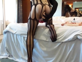 Anal adventures of a whore wearing black bodystocking 20