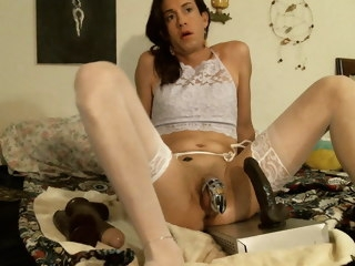 Sissy crossdresser Alexis-Rex playing with BBC dildos